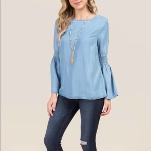 Beachlunchlounge Chambray Smocked Bell Sleeve Top